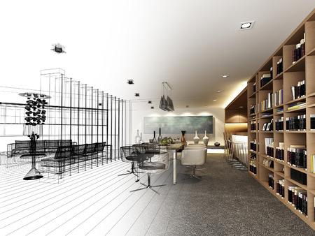 abstracte schets ontwerp van het interieur dineren, 3d Stockfoto