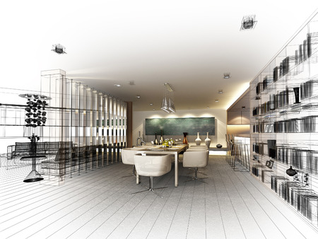 interior design: abstract sketch design of interior dining ,3d