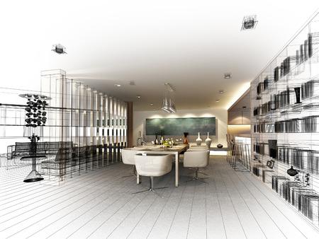 arquitecto: diseño resumen boceto de comedor interior, 3d