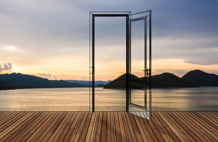 Paesaggio dietro la porta di apertura, 3D
