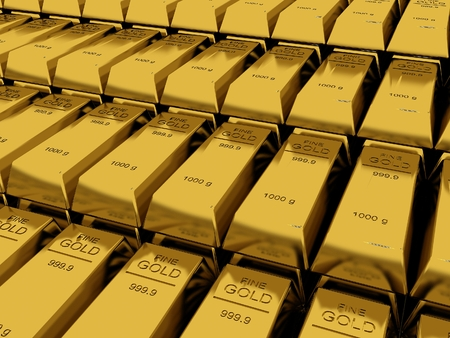 Stacked gold bars photo