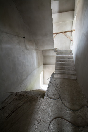 Building inside under construction ,stair hall photo