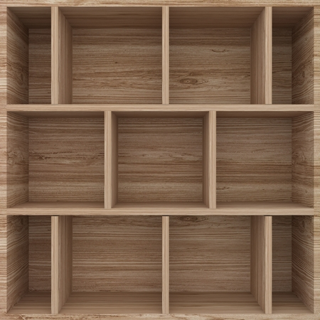 show case: 3d wood shelves for show case Stock Photo