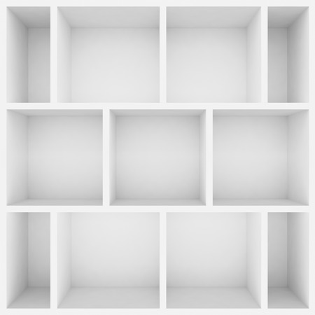 show case: 3d white shelves for show case Stock Photo