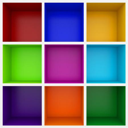show case: 3d colorful shelves for show case Stock Photo