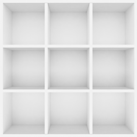 show case: 3d white shelves for show case Stock Photo
