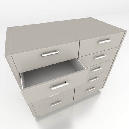 cupboard with opened empty drawer photo