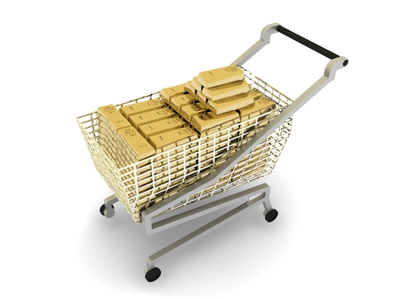 shopping cart isolated: Stacked gold bars in shopping cart, isolated on white background Stock Photo