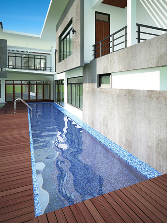 3D render of swiming pool in backyard photo
