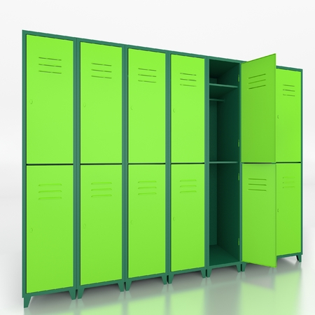 lockers: Empty green lockers isolate on white background