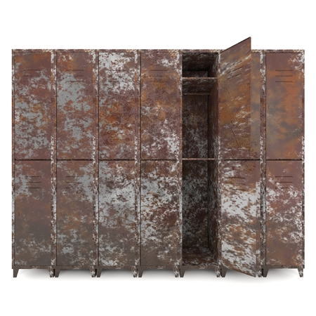 Empty old lockers isolate on white background photo