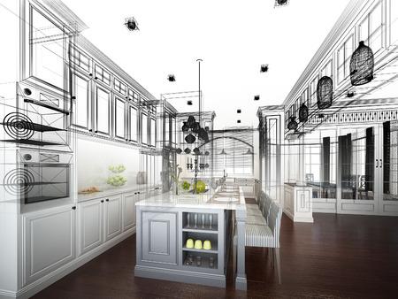 abstracte schets ontwerp van het interieur keuken