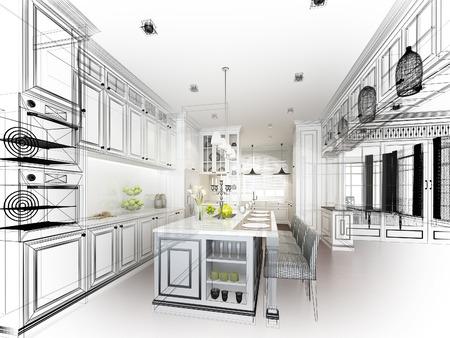 インテリア キッチンの抽象的なスケッチ デザイン