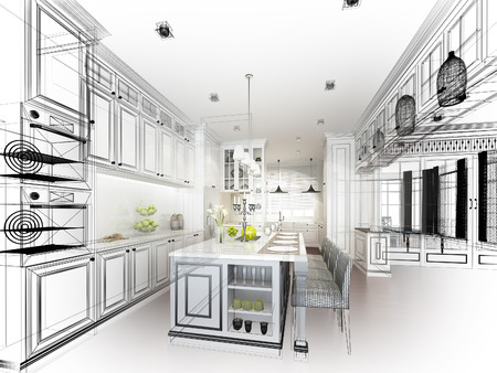 idea comfortable: abstract sketch design of interior kitchen