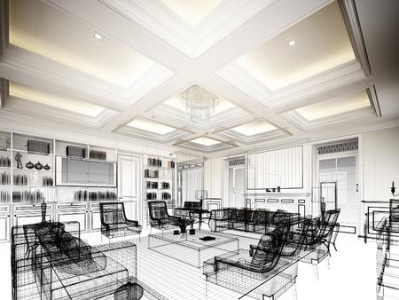 arquitecto: diseño del bosquejo de la vida, marco 3dwire render