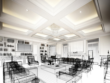 architect: sketch design of living ,3dwire frame render