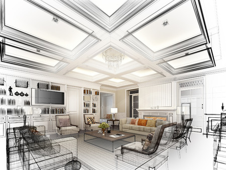 sketch design of living ,3dwire frame render