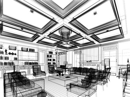 architectural interior: sketch design of living ,3dwire frame render