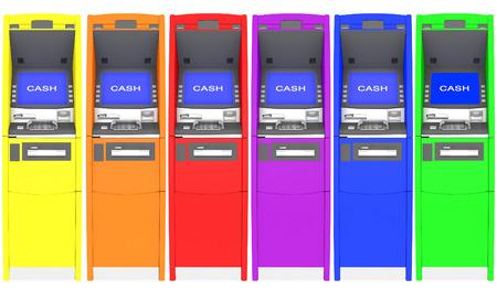 cash machine: colorful atm cash machine