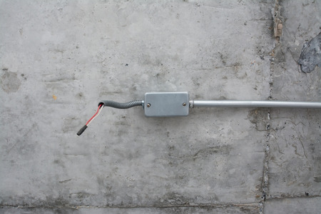 electric system: electric system on ceiling in construction site ,outlet with iron pipes