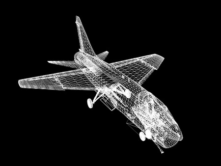 f 18: 3d Wire Frame sketch of F-16 hornet