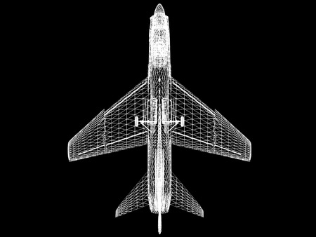 f 18: 3d Wire Frame sketch of F-16 hornet  on top view Stock Photo