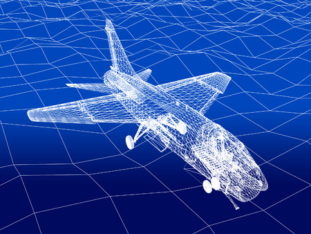 f 18: 3d Wire Frame sketch of F-16 hornet fly over sea