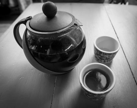 tea break: The time of tea break in black and white