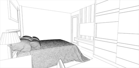 sketch design of bedroom interior ,vector Vector