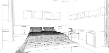 architectural studies: sketch design of bedroom interior ,vector