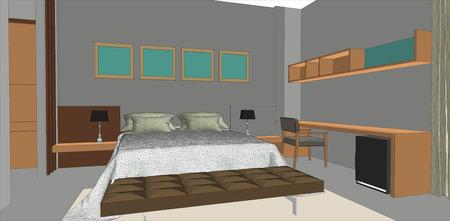 sketch design of bedroom interior ,vector Vector