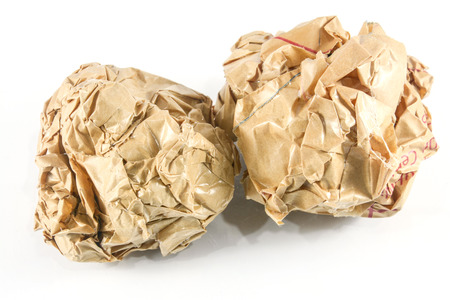 creasy: close-up of crumpled paper ball Stock Photo