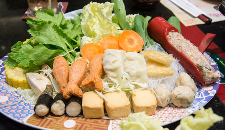 japanes: mixed chopping vegetable on dish ,suki yaki Japanes