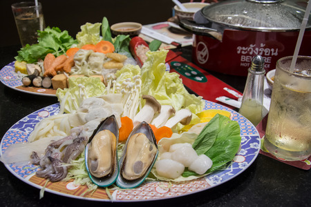japanes: Mussels with mixed chopping vegetable on dish ,suki yaki Japanes