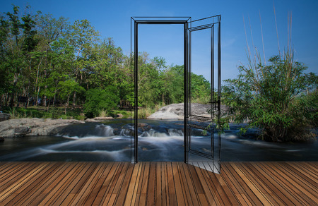 opening door: Landscape behind the opening door,3D