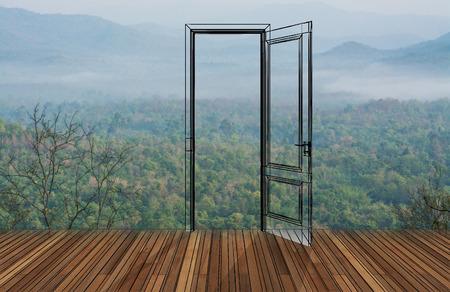 abriendo puerta: Paisaje detr�s de la puerta que se abre, 3D Foto de archivo