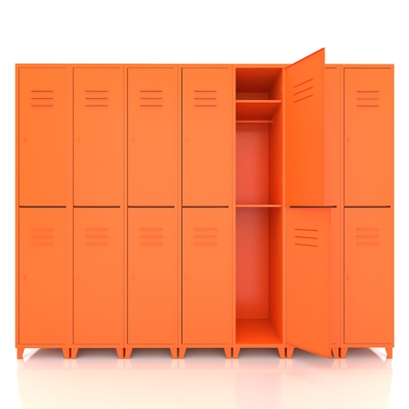 lockers: orange empty lockers isolate on white background Stock Photo