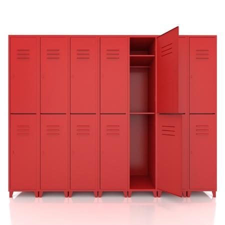 armadietti vuoti rosso isolare su sfondo bianco