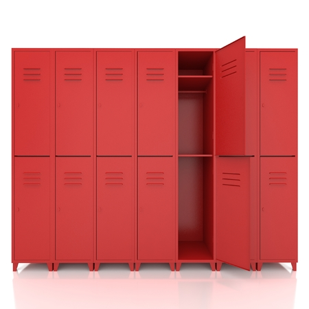red empty lockers isolate on white background Standard-Bild