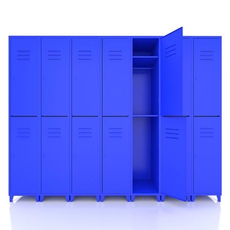 lockers: blue empty lockers isolate on white background Stock Photo