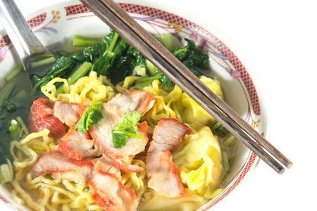 traditonal: Chinese food, Wonton and noodle for traditonal gourmet dumpling image Stock Photo