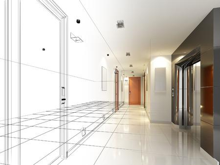disegno schizzo di sala interna