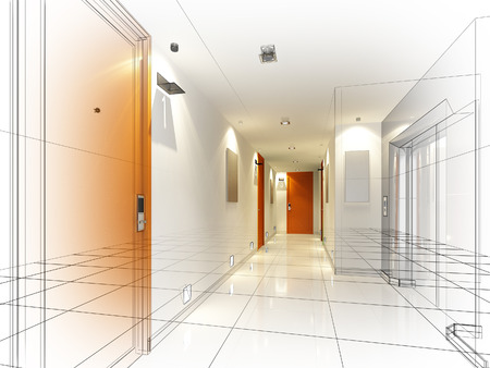 sketch design of interior hall Stock Photo