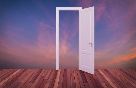 abriendo puerta: cielo detrás de la puerta de apertura, 3D