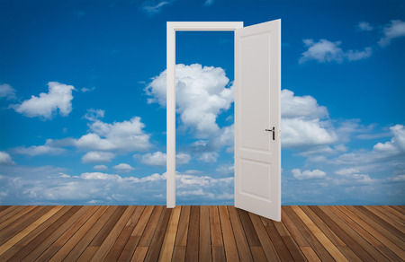 door opening: sky behind the opening door,3D