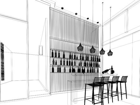 bartending: sketch design of counter bar ,3dwire frame render