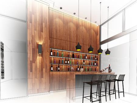 wire frame: sketch design of counter bar ,3d wire frame render