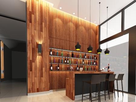 wall bars: 3d render counter bar