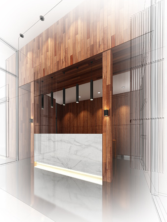 sketch design of lobby ,3dwire frame render photo