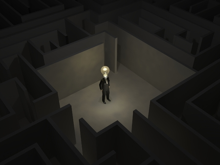 Man with a bulb in the middle of a mysterious maze photo
